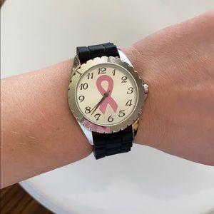 Women's breast cancer awareness watch black pink